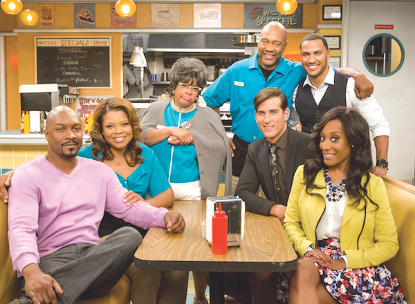 "Cast of Tyler Perry's ""Love Thy Neighbor"" (l-to-r) Tony Grant, Kendra C. Johnson, Patrice Lovely, Palmer Williams, Andre Hall, Jonathan Chase and Darmirra Brunson"